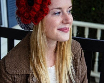 Knit Bulky Hat with Extra Large Flower