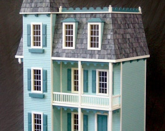 Scale One Inch, Queen Victoria Mansion Wooden Dollhouse Kit, 1:12 Scale
