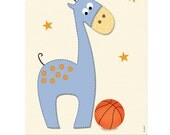 Nursery wall art, Nursery decor, Boys nursery, sports nursery, baby room,Giraffe sports wall art,nursery art, basketball, football, baseball