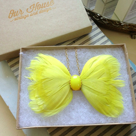 Chartreuse Feather Bow Tie Necklace CUSTOM LISTING
