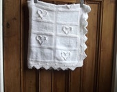 White baby blanket gift square snuggle rug knit handmade blankets lace traditional afgan knitted hearts kids babies Dolly Topsy Etsy UK