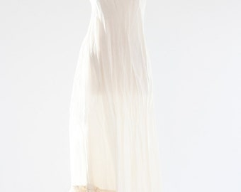 1920s Wedding Gown. Cream Slip Dress / Ruffle Satin Dress /  Small - Antique Bridal Clothing.  (Item 000005)