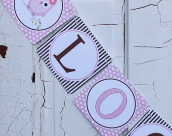 LOOK WHOOO'S .... OWL Theme Birthday or Baby Shower Party Banner Pink Brown - Party Packs Available