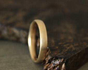 Men's Gold Wedding Band 14k Gold Rounded Band 4mm Recycled Metal