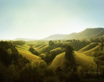 Rolling Hills Landscape Photo, Smoky Mountains Golden Green Foothills & Trees, Tennessee Country Farmhouse, Travel Photography, Wanderlust