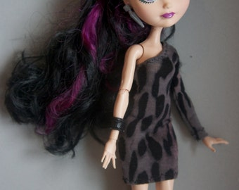 Ever After High clothes grey and black animal print minidress