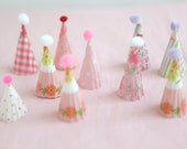 pinks - mini party hat cupcake toppers