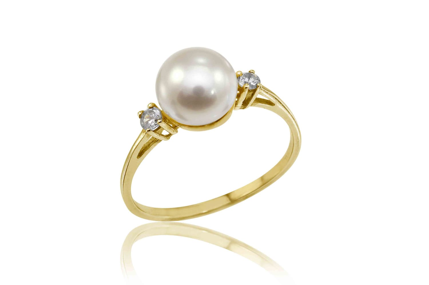 14k pearl ring pearl engagement ring dainty pearl ring june for Pearl engagement ring with wedding band