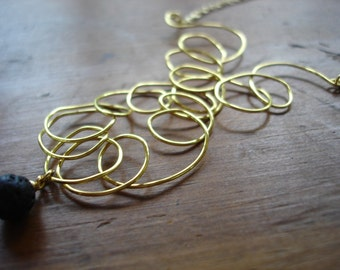 CLEARANCE,Freeform Wire, Statement Necklace, Lava Stone Necklace,Modern Boho, Wire Jewelry,Wire Pendant,OOAK Jewelry,Gold Wire Necklace,SALE