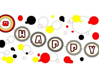 Mickey Mouse inspired banner INSTANT DOWNLOAD, birthday banner, mickey mouse party decoration, Mickey banner You PRINT