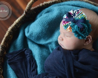 Teal, Cream   headband, pink headbands, newborn headbands, flower headbands, chiffon headbands, photography prop