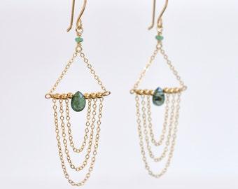 Emerald Earrings- Gold Filled Earrings- Emerald Green Earrings- Gold Filled Chandeliers- Emerald Chandelier Earrings- Mossy Green Earrings