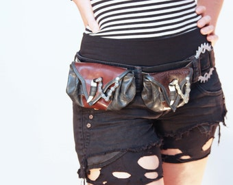 Leather and Recycled Bike Tube Belt Pouch - Available in two sizes and any colour of leather - Made to order