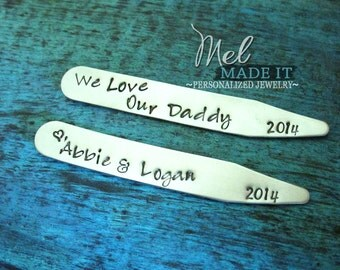 Personalized Collar Stays, Gift for Dad, Father of the Groom, Father of the Bride, Groomsmen Gift, Custom Present for Men, Birthday Present