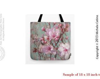 Cherry Blossoms Tote Bag Pink Flowers Spring Branches Turquoise Sky Tote Shoulder Bag Photo Shopping Bag Photo Grocery Bag Unique Book Tote