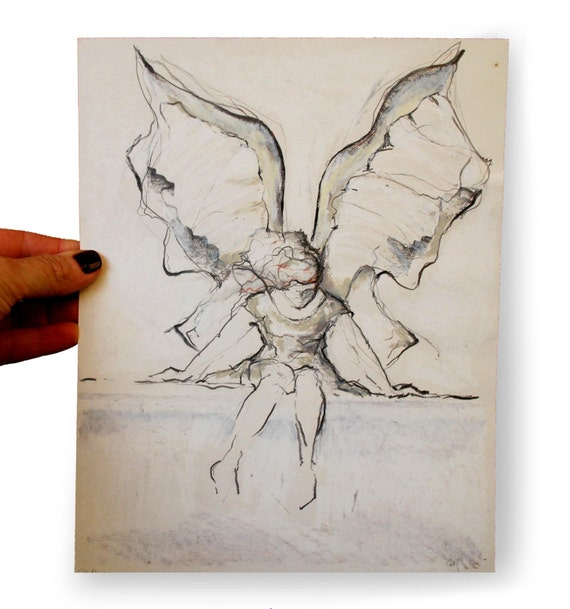 Original mixed media art drawing-Angel -charcoal and pastel oil on paper. Wings, dream, angel, grey gray, white, brown, beige