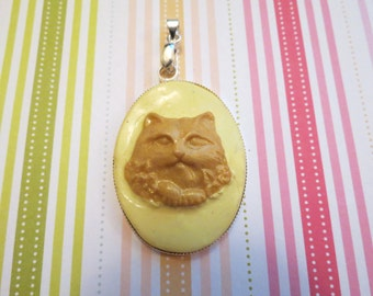 Yellow Creepy Cat Cameo Pendant