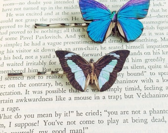 Purple Butterfly Hair Accessory Blue Butterflies Fairy Accessories Fairie Barrette