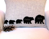 Personalized Family Bear Pillow, Papa Bear and Mama Bear with Cubs Pillow, Family of Multiples, Mom Family Pillow
