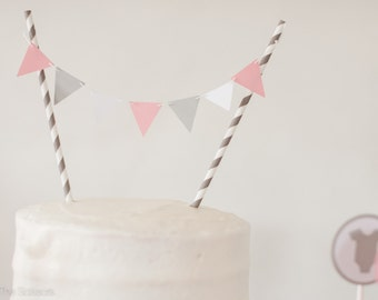 Modern Pink and Gray Cake Topper, Pennant Cake Topper, Baby Shower Topper, Wedding Cake Topper,  Baby Shower Decoration, Birthday Party