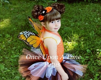 Ready To Ship Orange Monarch Tutu Dress - Newborn Baby 3 6 9 12 18 24 Months 3T 4T 5 6 .. Orange Monarch Butterfly Halloween Costume
