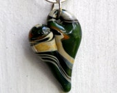 Heart Necklace Glass Jewelry, Pendant Lampwork Boro Heart, Handmade Handblown Tan and Kelly Green Mix