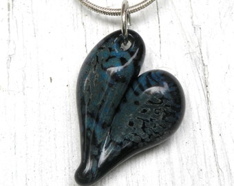 Glass Heart Pendant, Lampwork Glass Jewelry, Hand Blown Boro Heart Blue on Black