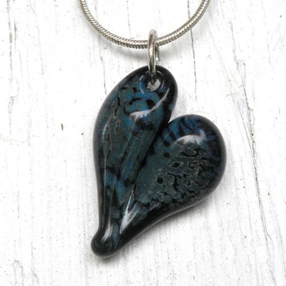 Glass Heart Pendant, Lampwork Glass Jewelry, Hand Blown Boro Heart Blue on Black