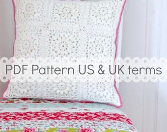 PDF Crochet Pattern - Popcorn & Lace Square Pillow - US and UK terms - crochet cushion, crochet pillow, crochet square