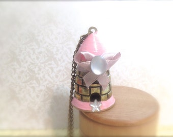 Fairytale Tower Necklace. Castle. Princess. Fantasy. Long Necklace. Whimsical. Cute. Pink. Pretty. Girly. Childhood. Vintage Style. Sweet.