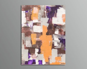 """SOLD - """"Fiori VIII"""" -  Original Abstract Purple, Brown, Gold, Grey, Silver Painting by Geordanna"""