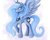 My Little Pony Art Princess Luna Painting MLP Girls Wall Decor Unicorn Pegasus Illustration Print - Sarah Alden