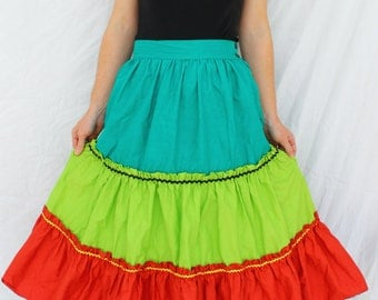 Colorful 1950s Patio Squaw Square Dancing Skirt Size SMALL