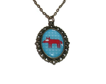 Kawaii Fox Cameo Necklace, Bronze, Green Kawaii Forest Animal Jewellery, Woodland, Quirky