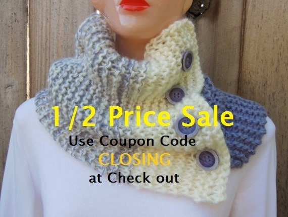 Knit Cowl. Chunky Knit Cowl. Oversized. Hand Knit. Buttoned Neck. Color Block Scarf. Lavender. Arctic Plum. Winter White. White