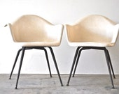 Mid Century Fiberglass Arm Chairs - Herman Miller Charles Eames Style Chairs