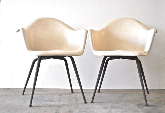 Mid century fiberglass arm chairs herman miller charles eames style