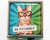 Cat Pill Case, Square Pill box, Cat Pill Box, 4 Sections, Pill case, Cat Case, Cats, Gift for Cat Lover, Be Yourself (4099)