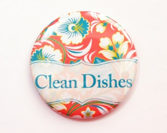 The dishes Are Clean, Dishwasher magnet, kitchen magnet, Clean Dishes, clean dishes magnet, Orange, Red, Floral, Flower, Magnet (3685)