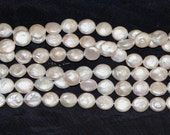 """Freshwater white Coin Pearl 11mm Gorgeous Iridescent  AA + -16"""" Strand"""