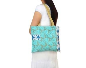 Organic canvas tote bag, Lace purse, Light Green Lace, Shoulder Shopping Bag, Medium Cotton Bag, Soft Tablet Bag, Teenage Girls bag