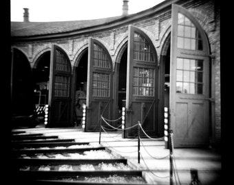 Roundhouse - 16x16 B&W Digital Print of Diana/Lomo Image