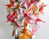 Reserved Listing for Miranda-  Stargazer Cascade Bridal Bouquet in Hot Pink and Orange Tropical Wedding Beach Wedding Real Touch Flowers