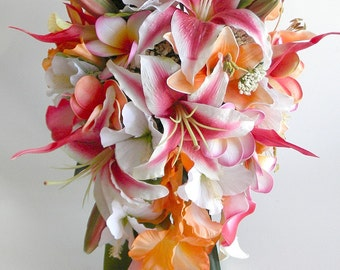 Stargazer Cascade Bridal Bouquet in Hot Pink and Orange Tropical Wedding Beach Wedding Real Touch Flowers-  Style #109