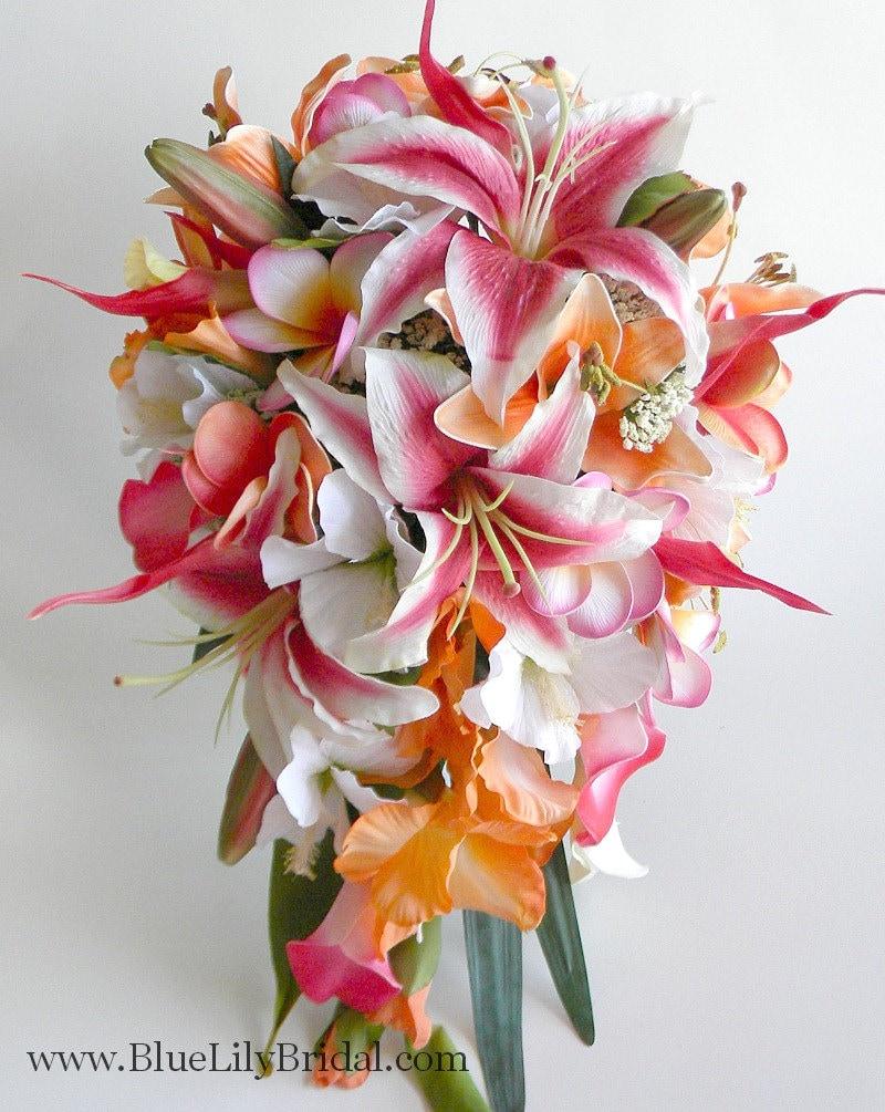 Stargazer Cascade Bridal Bouquet In Hot Pink And Orange