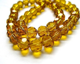 Topaz Gold Glass Beads, 8mm Faceted Round Beads, Amber Glass Crystals, Autumn Fall Color, DIY Jewelry Making  - 50 Pieces  SP535
