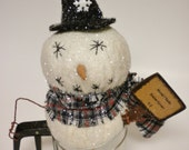 Snowman, Snowman in Vintage Flour Sifter, Primitive Christmas Decorations