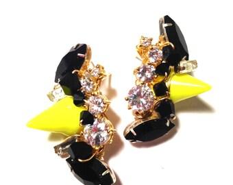 The Melissa Stud Earring, Spike Stud Earrings, Highlighter Yellow Stud, Neon Stud, Neon Spike, Edgy Earrings, Cluster Earrings
