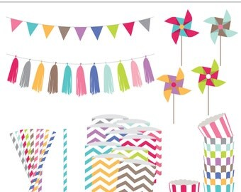 Party Box Clipart Set - 36 Pieces for Personal & Commercial Use - INSTANT DOWNLOAD