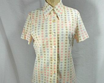 vintage 1970s polka dot blouse / size large